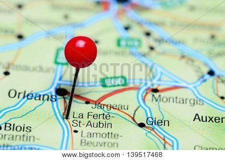La Ferte-St-Aubin pinned on a map of France
