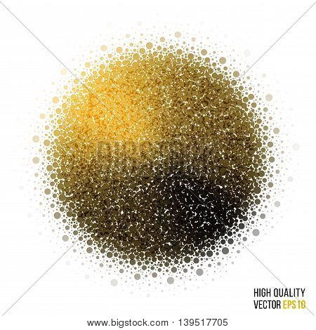 Splash and artistic explosion effect for party. Glitter golden vector.
