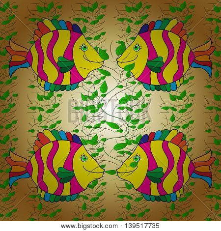 Vintage pattern with colorful fish on golden gradient background with floral elements.