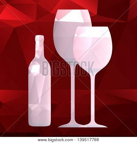 bottle and wineglass vector on a dark background , polygonal design, low poly style