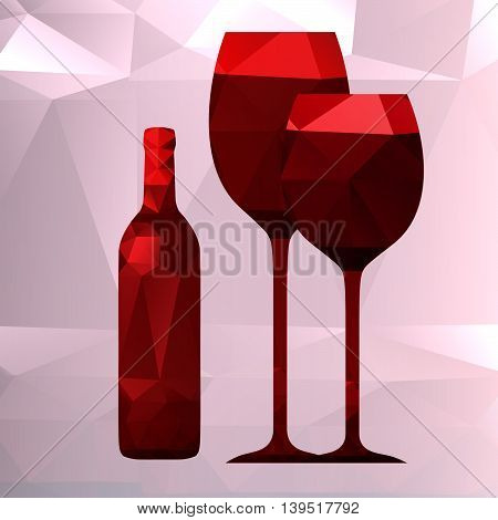 bottle and wineglass vector on a light background , polygonal design, low poly style