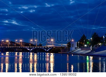 Beautiful view at night illuminated with blue light. Vinnytsia. Ukraine