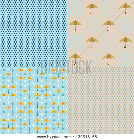 vector seamless texture of rain with umbrellas
