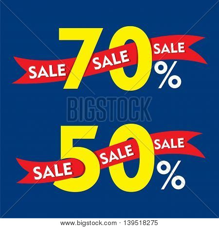 50 and 70 percentage discount sale banner design vector
