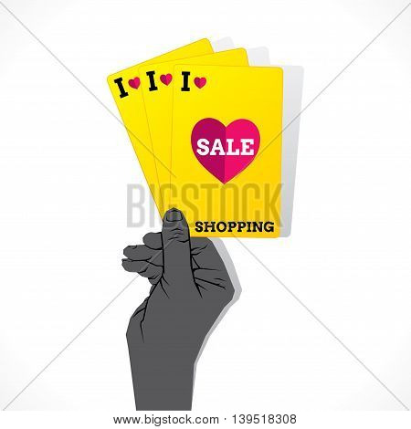 I love shopping sale creative banner design with playing card vector