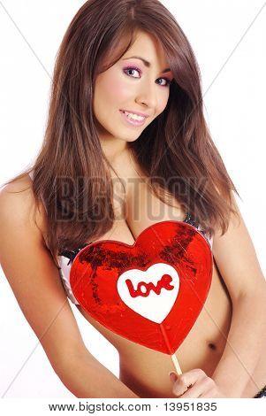 Valentine's girl with love lollipop