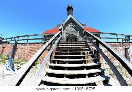 Fish-eye view of The Fire Island Lighthouse