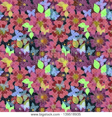 Seamless bright colorful floral background pattern texture print