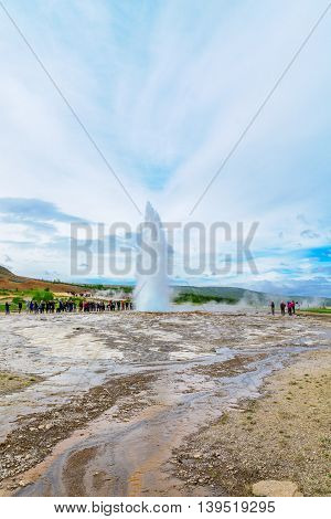 Eruption Of The Strokkur Geyser