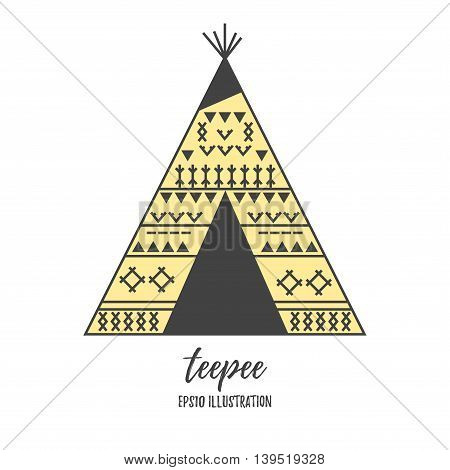 Teepee wigwam building with ornament flat vector illustration