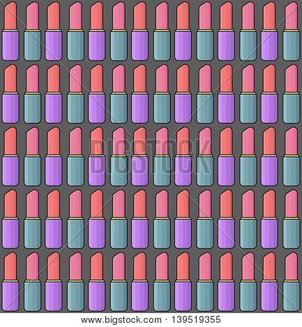 Lipstick line art thin line seamless vector pattern