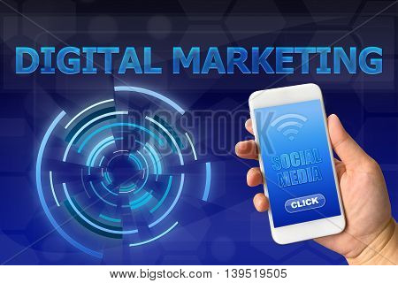 Woman hand holding smartphone with social media against digital blue background DIGITAL MARKETING concept
