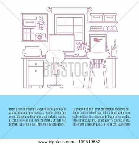 Home Workplace. Cabinet interior. Workspace with desktop computer. Vector line illustration. Flyer shop template.