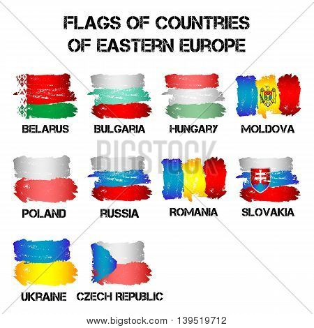 Set of flags of Eastern Europe countries from brush strokes in grunge style isolated on white background. Ensigns of 10 Eastern Europe member states. Vector illustration