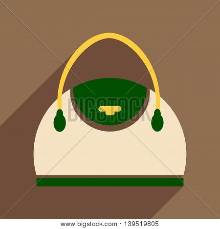 Flat icon with long shadow leather handbag