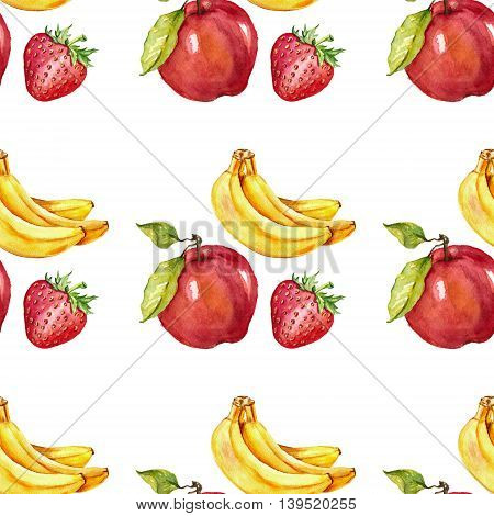 Watercolor seamless pattern with fruits Hand drawn image