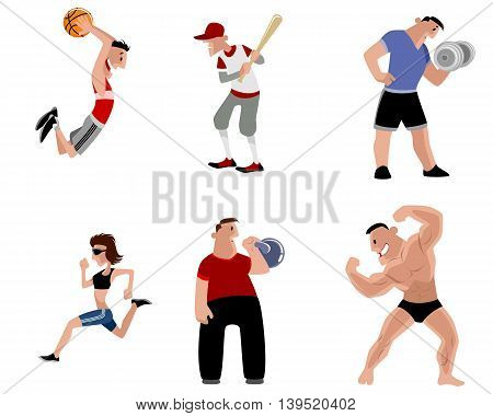 Vector illustration image of a six athletes set