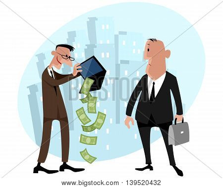 Vector illustration of a two businessmen with money