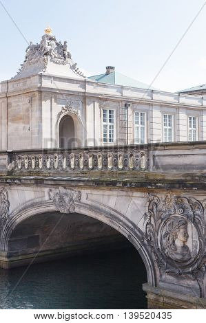 The Marble Bridge over canal to Christiansborg Palace (Copenhagen, Denmark)