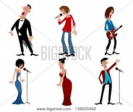 Vector illustration of a six person of artists