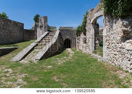 Stairs in fortress with some other walls in Knin, Croatia