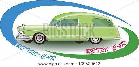Green Rretro-car 1953. Vector image auto.Emblem, logo or symbol of vintage car