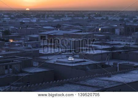 Sunrise over the city of Khiva in Uzbekistan.