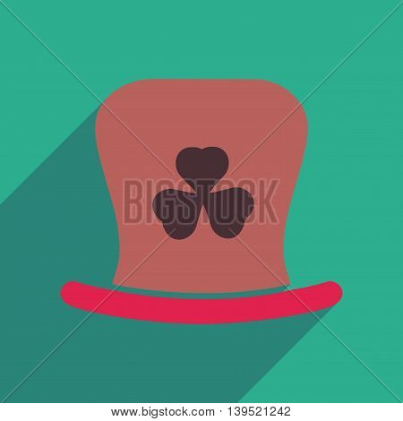 Flat web icon with long shadow Irish hat