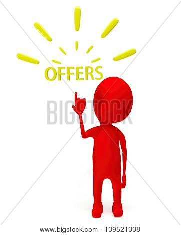 3D Red Character Pointing Hand Towards Offer Text Concept