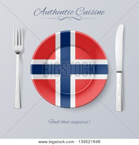 Authentic Cuisine of Norway. Plate with Norwegian Flag and Cutlery