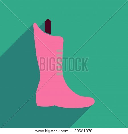 Flat icon with long shadow  boots lacing
