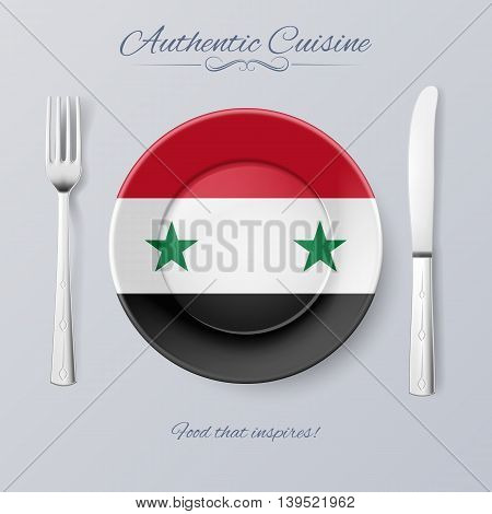 Authentic Cuisine of Syria. Plate with Syrian Flag and Cutlery