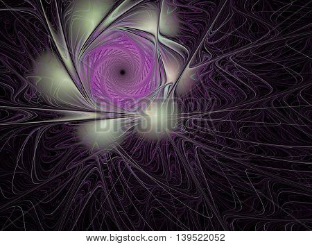 Abstract fractal flower computer generated image on dark background