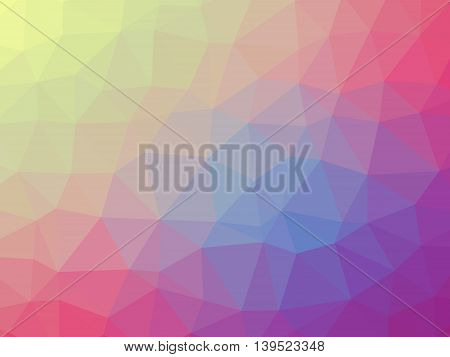 Rainbow pink, blue and yellow gradient polygon shaped background.
