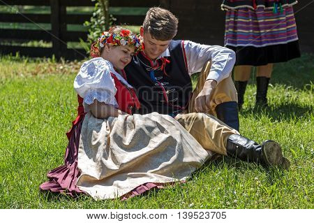 ROMANIATIMISOARA-JULY 102016:Young Polish dancers in traditional costume perform in one show at the international folk festival