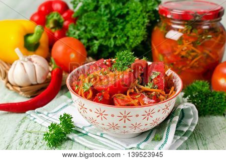 Fresh tomatoes carrots bell pepper and spices homemade pickled vegetables