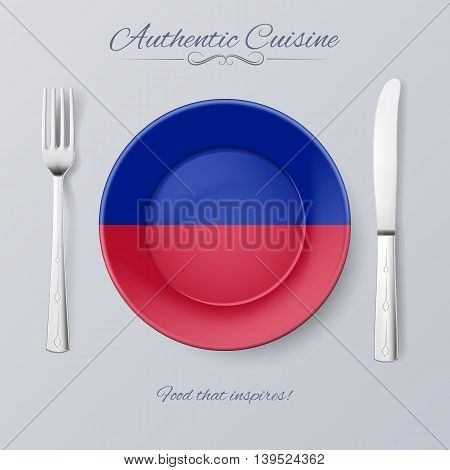 Authentic Cuisine of Haiti. Plate with Haitian Flag and Cutlery