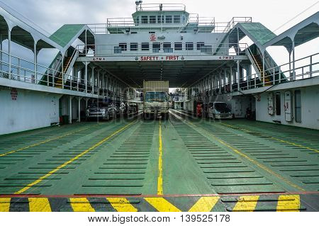 Labuan,Malaysia-July 15,2016:Vehicles on the Labuan car ferry known as Goodwill.Labuan served by three ferry operators with four vessels involved with joint capacity of the vessel is 220 vehicles.