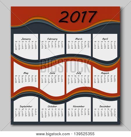 Abstract Waves Calendar 2017 Year