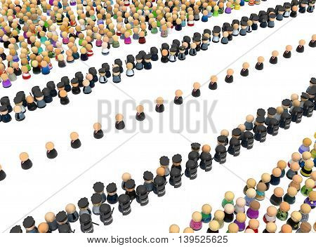 Crowd of small symbolic figures procession security 3d illustration horizontal over white isolated