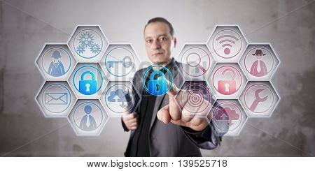 Happy information security professional is closing a lock to secure data via touch. Unprotected computer network remains red. Business concept for data security computer security crime prevention.