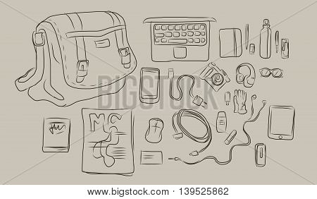 sketch of things inside bag, from laptop to headphone, book, magazine all in vector drawing
