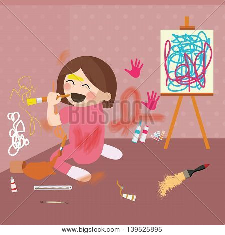 girl doodling on wall, messy house vector