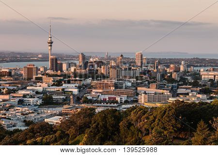 Auckland skyline in New Zealand at sunset