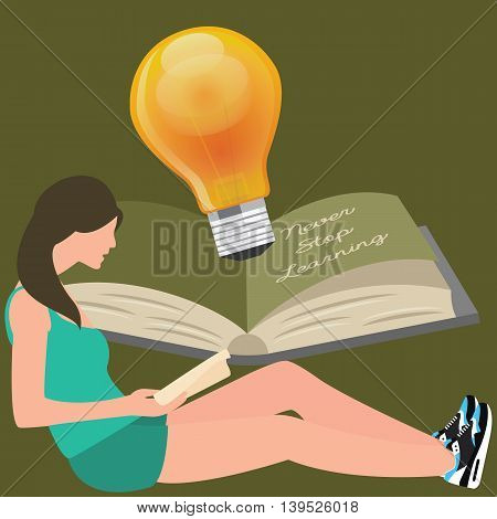 never stop learning, girl reads book, light bulb shines vector