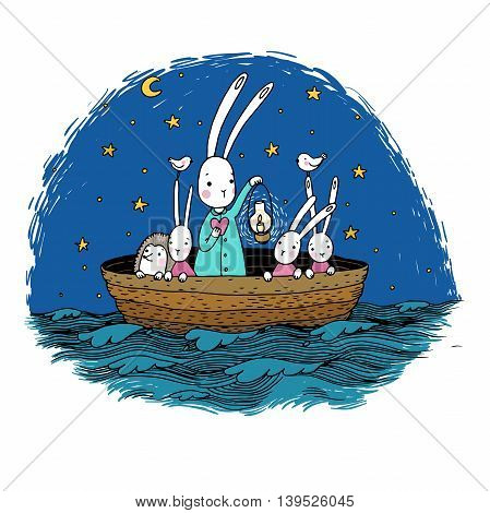Cute little hares and hedgehog floating in a boat on the river. Night sky. Lantern, the heart and birds. Hand drawing isolated objects on white background. Vector illustration.