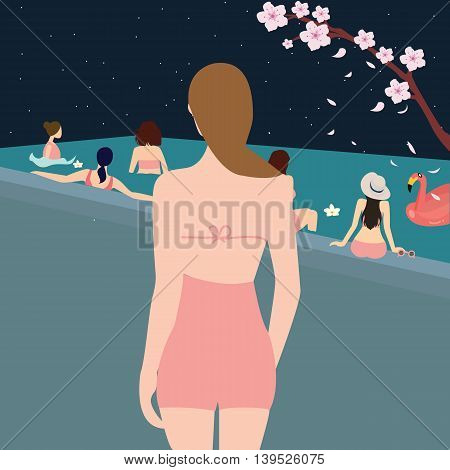 female woman back looking at swimming pool girls swimming together with friend during the night vector