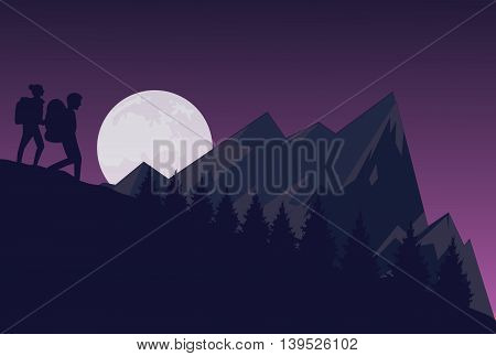 silhouette of two people hiking during the night dark sky in mountain down hill vector