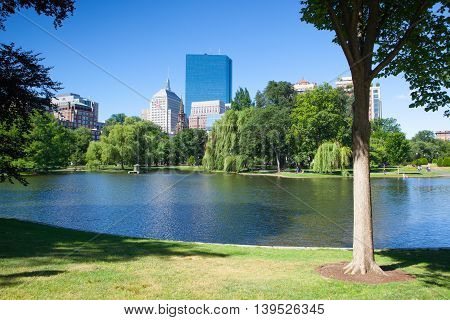BOSTON, MASSACHUSETTS,USA - JULY 2,2016: The Public Garden founded 1837.Also known as Boston Public Garden is a large park located in the heart of Boston Massachusetts adjacent to Boston Common.