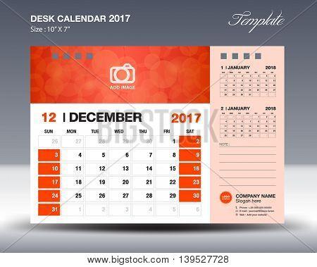 DECEMBER Desk Calendar 2017 Template for business